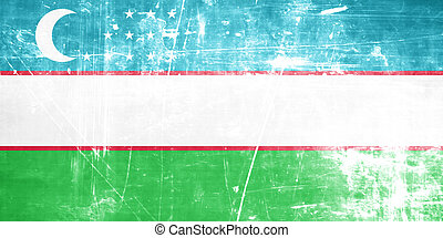 Uzbekistan flag with some soft highlights and folds