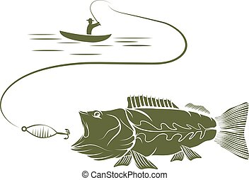 illustration of fisherman in a boat and big mouth bass