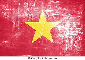 Vietnam flag with some soft highlights and folds