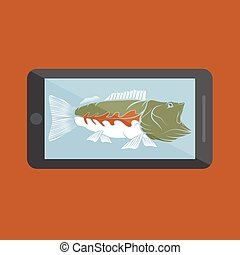 flat design with big mouth bass