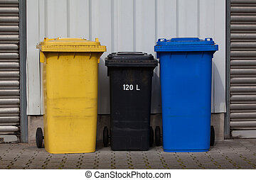 Bins For Collection Of Recycle Materials. Plastic bins. Garbage containers
