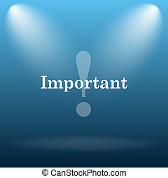 Important icon Internet button on blue background