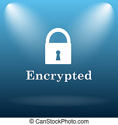 Encrypted icon Internet button on blue background