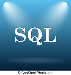 SQL icon. Internet button on blue background.