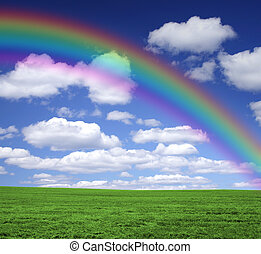 Rainbow over a green field - Rainbow in the sky with clouds