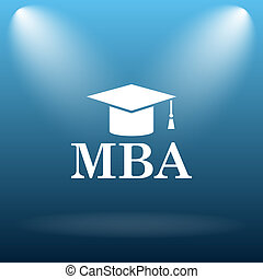 MBA icon Internet button on blue background