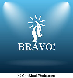 Bravo icon. Internet button on blue background.