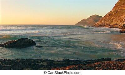 African Ocean waves - Ocean waves at sunset, Noordhoek Beach...