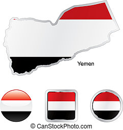 flag of yemen in map and internet buttons shape