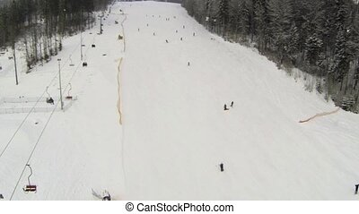 Aerial shot of ski slope at the Bukovel resort