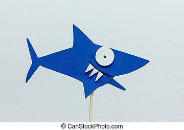 eva foam blue shark on white background