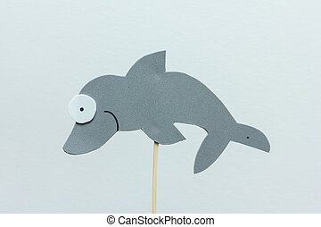 eva foam gray dolphin on white background