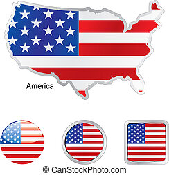 flag of america in map and web buttons shapes - fully...