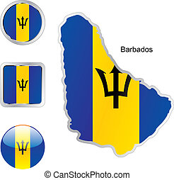 flag of barbados in map and web buttons shapes - fully...