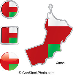 flag of oman in map and internet buttons shape