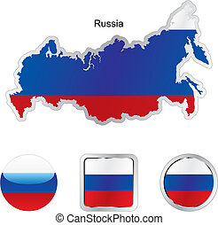 flag of russia in map and internet buttons shape