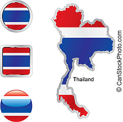 flag of thailand in map and internet buttons shape - fully...
