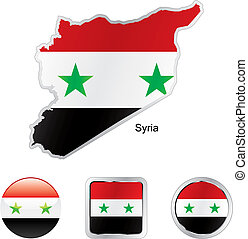flag of syria in map and internet buttons shape