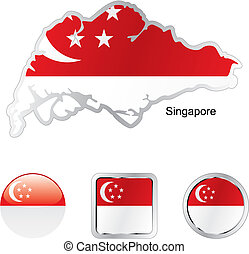 flag of singapore in map and internet buttons shape - fully...
