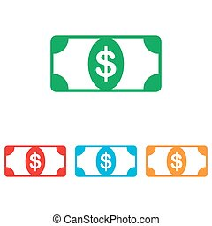 Bank Note dollar sign. Colorfull set isolated on white...
