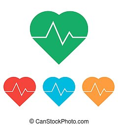 Heartbeat sign. Colorfull set