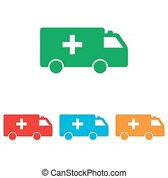Ambulance sign. Colorfull set isolated on white background