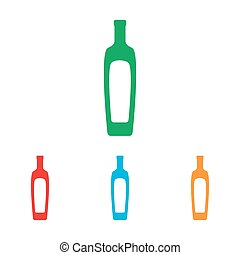 Olive oil bottle sign. Colorfull set isolated on white...