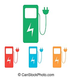 Electric car charging station sign. Colorfull set isolated...