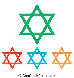 Star. Shield Magen David. Symbol of Israel on transparent...