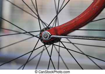Bicycle - A bike felly with some spokes and the center...