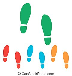 Imprint soles shoes sign Colorfull set isolated on white...