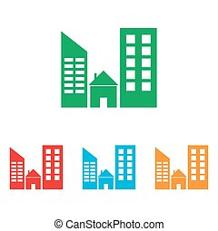 Real estate sign. Colorfull set isolated on white background