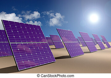 Solar energy park in desert - Solar energy panel with sky...