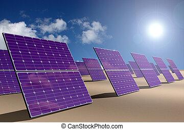 Solar energy park in desert