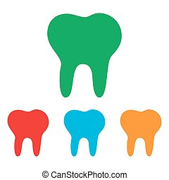 Tooth sign. Colorfull set isolated on white background