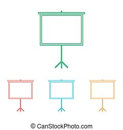 Blank Projection screen. Colorfull set isolated on white...