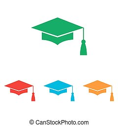 Mortar Board or Graduation Cap, Education symbol. Colorfull...