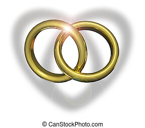 Linked wedding rings casting heart shadow