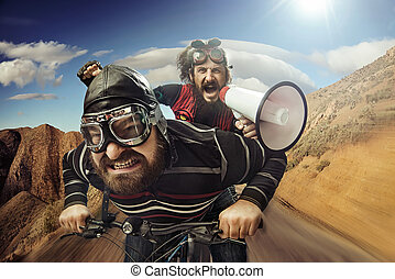 Funny portrait of a tandem of cyclists - Funny portrait of a...