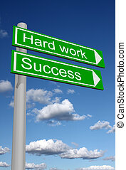 Signpost for success and hard work - Signpost showing the...