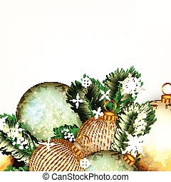 Christmas or New Year background with golden and blue baubles and Xmas tree green branches
