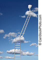 Ladders to a trophy on a cloud