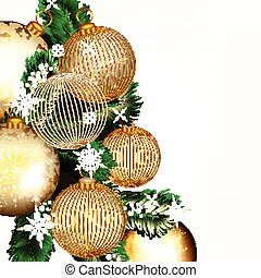 Christmas or New Year background with golden baubles and Xmas tree green branches