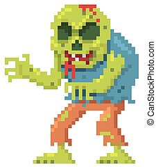 Zombie - illustration of Cartoon zombie pixel design