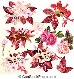 Collection or set or realistic vector flowers lily roses lotus hibiscus for design