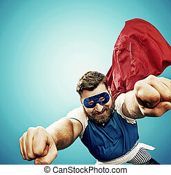 Plump superhero flying over the city - Plump superhero...