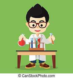Scientist boy doing experiment