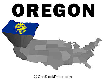 Oregon - Outline map of the United States with the state of...