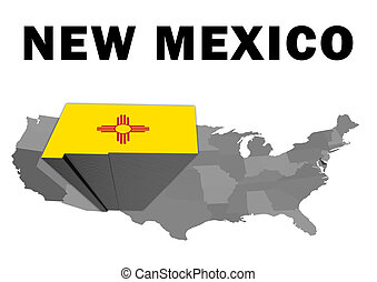 New Mexico - Outline map of the United States with the state...