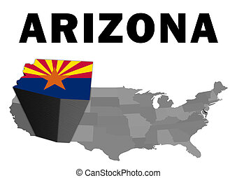 Arizona - Outline map of the United States with the state of...